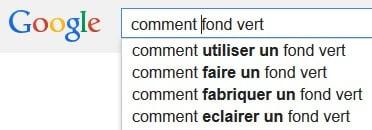 Google suggest Fond vert