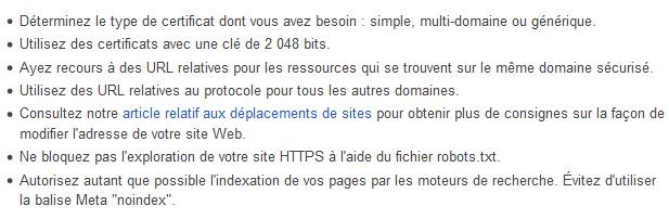 Recommandations certificat SSL Google