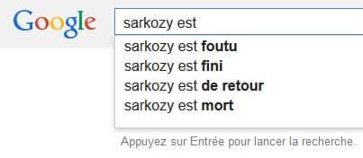 Google Suggest Sarkozy