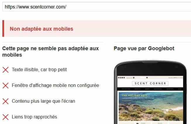 Echec test compatibilité mobile