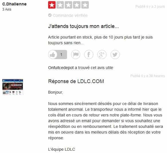 Réponse avis négatif LDLC - Internet Business