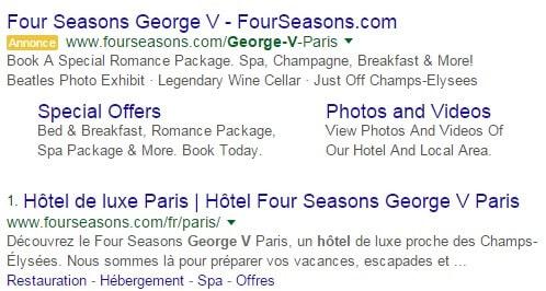 Hotel George V achat de marque Adwords