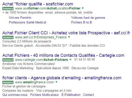 Achat fichier clients SEA