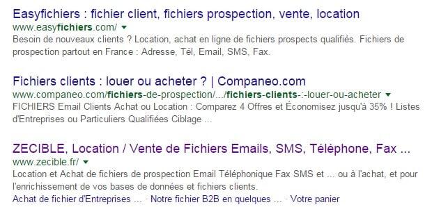 Résultats SEO achat fichier Email