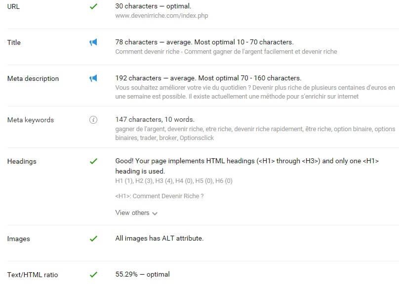 Optimisation page SEO