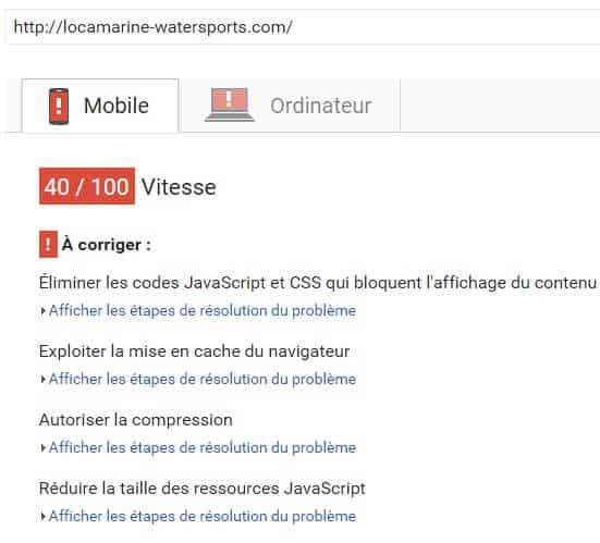 Scores PageSpeed Insights Locamarine