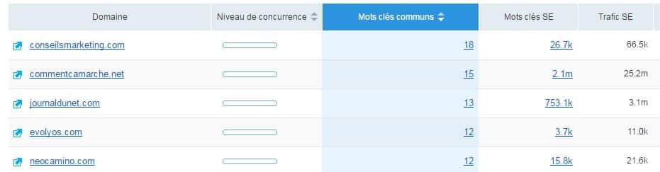 Concurrents SEMrush Internet Business