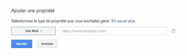Ajouter une propriété Google Search Console