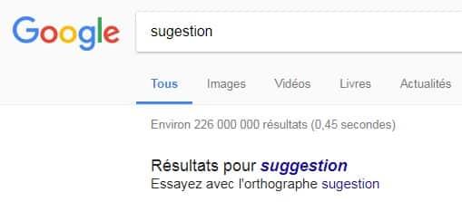 Essayer avec l'orthographe Google