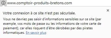 Site HTTP non sécurisé