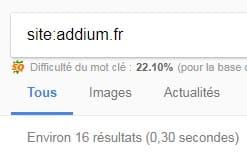 Addium pages indexées Google