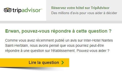 Relance FAQ TripAdvisor