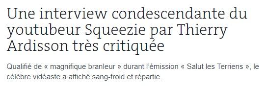 Squeezie chez Ardisson Le Monde