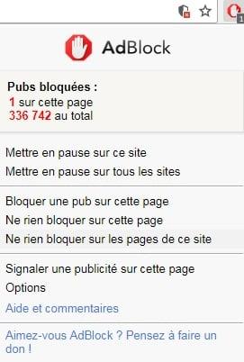Désactiver Adblock sur une page