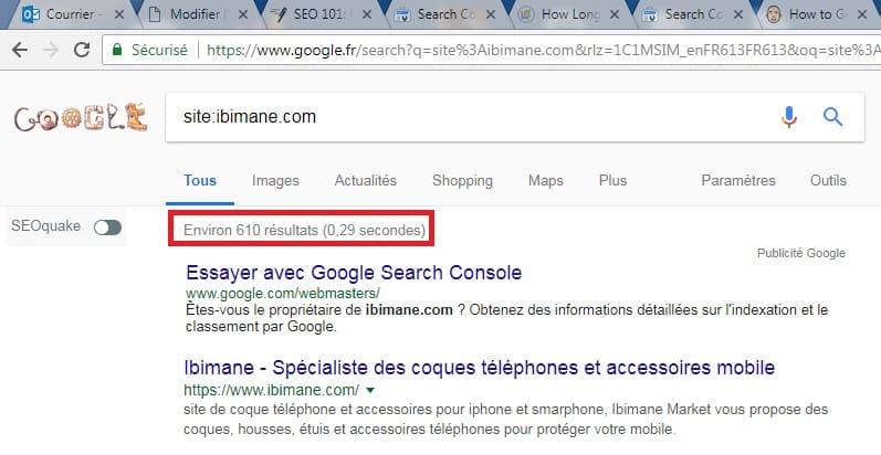 Commande site dans Google