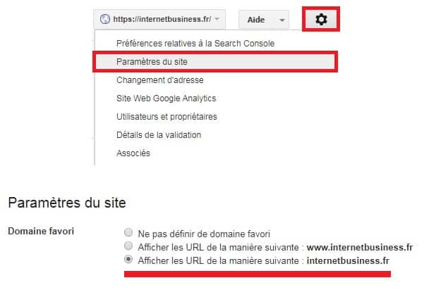Choix URL Google Search Console