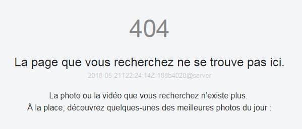 Erreur 404 sur Flicker