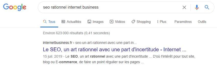 Page à nouveau indexée dans Google