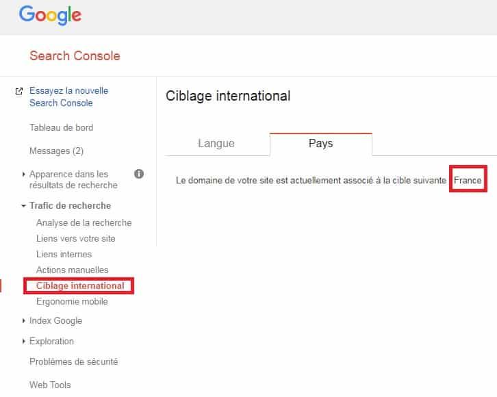 Sélection pays Google Search Console
