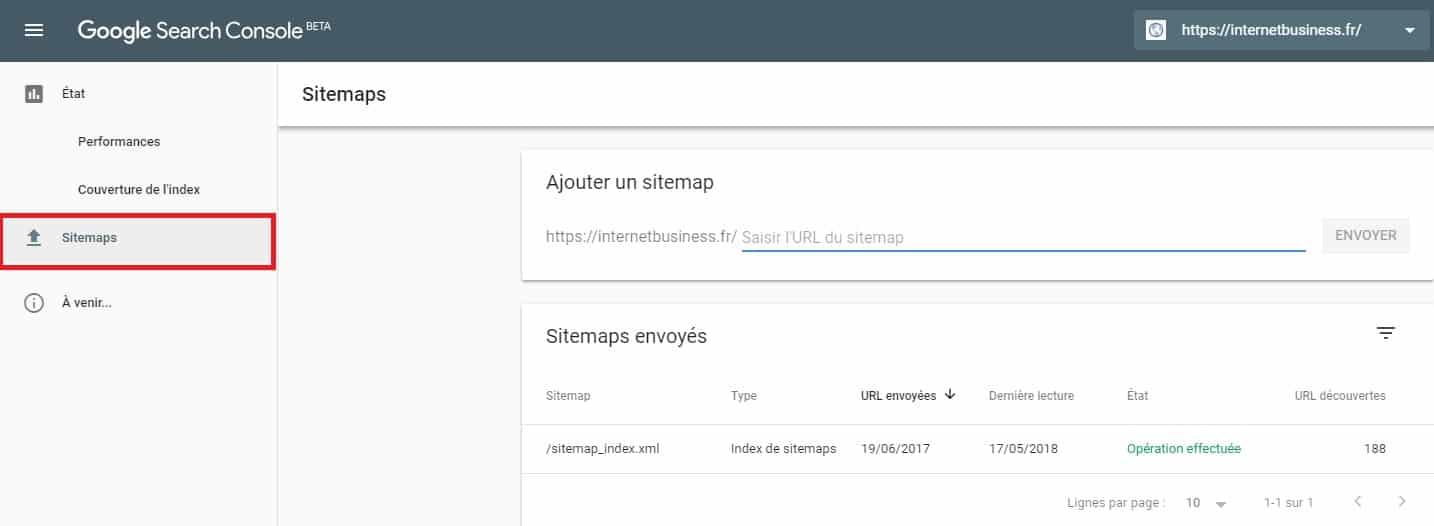 Sitemaps nouvelle Google Search Console
