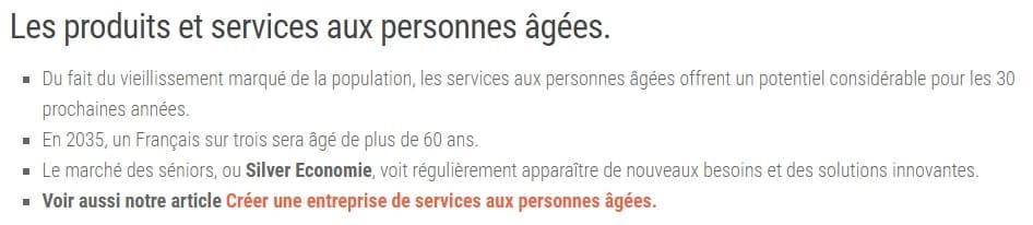 Produits services personnes âgées