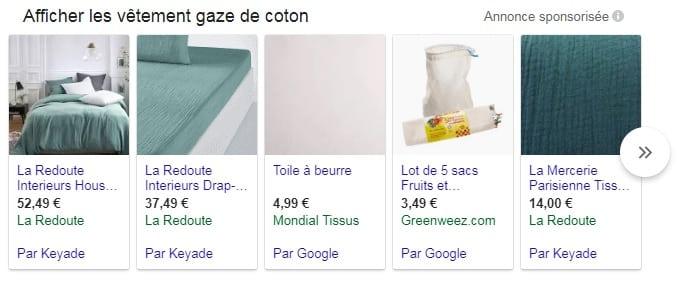 Google shopping gaze de coton