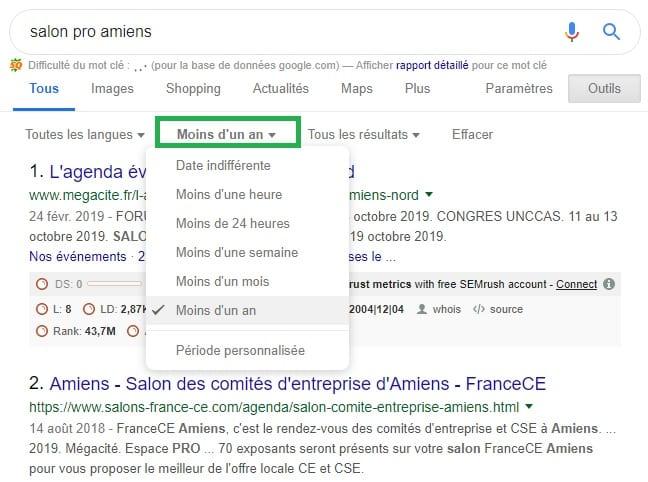 Exemple recherche salon professionnel Google