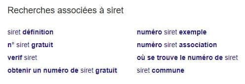 Recherches associées Google SIRET