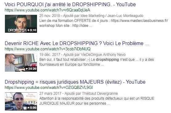 Vidéos dropshipping youtube