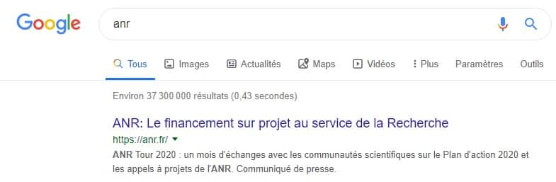 Résultat ANR dans Google