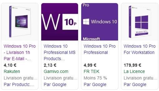 Exemple prix licence windows 10 pro