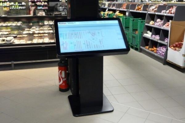 exemple table tactile dans supermarché