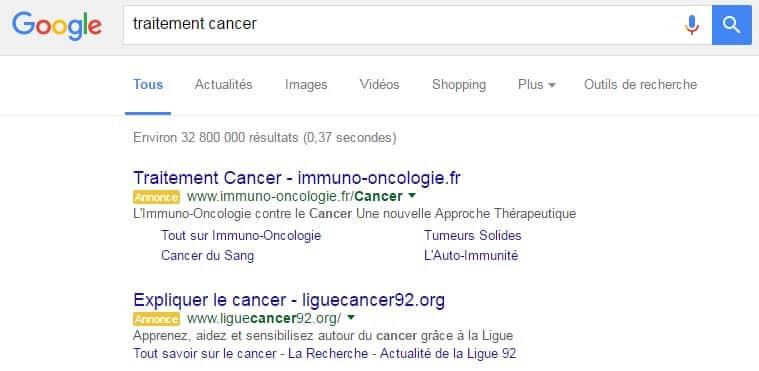 Adwords traitement cancer
